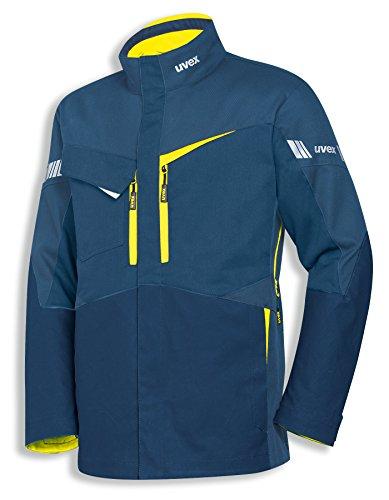 Uvex Safety metal pro 8936 | Arbeitsjacke mit Stretch-Einsätzen | Sicherheitsjacke für Herren und Damen | Blau | Gelbe Reflex-Einsätze | Größe S