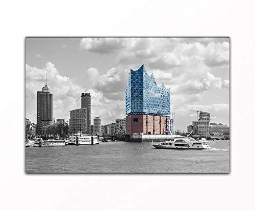 Wandbild Elbphilharmonie - Hamburg als XXL Kunstdruck auf Leinwand und Holzkeilrahmen I Moderne Drucktechnik für EIN detailreiches Erlebnis I Beste Qualität - Made in Germany! (80 x 120 cm) -