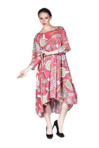 Designer Damen Kleid extravagant gemustert auch in PLUS SIZE, Kimono aus leichtem Material - auch in Übergröße Rosa