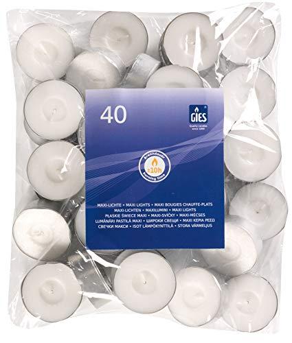 Gies Kerzen, Teelichte, Maxi-Lichte, Weiß, Durchmesser 58 mm