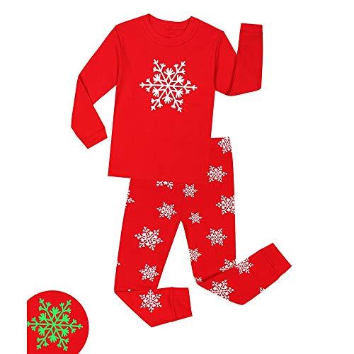 s Glow-in-The-Dark Nachtwäsche für Kinder PJS Größe 1-8T für Jungen (Farbe : Rot, Größe : 5T) ()