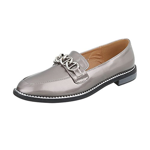 Ital-Design Slipper Damen-Schuhe Slipper Blockabsatz Moderne Halbschuhe Silber Grau, Gr 41, Y-6-1-