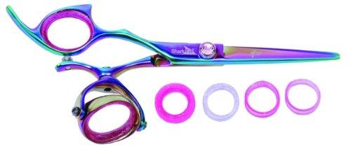 Shark Fin Hair Scheren Professional Line Titan Rainbow Linkshänder Super Drehgelenk Texturizer 40T Mixer