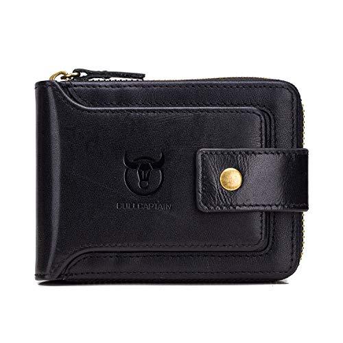 caed7400a9 Portafoglio Uomo Pelle Vera RFID Portamonete Piccolo per Carte di Credito,  Monete e Banconote (