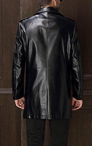 Pour des hommes Cuir mode Entreprise cuir Longue cuir veste Noir