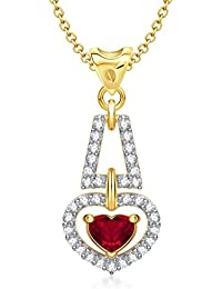 VK Jewels Love For You Red Ruby Heart Shape Gold and Rhodium plated Pendant - P1283G [VKP1283G]