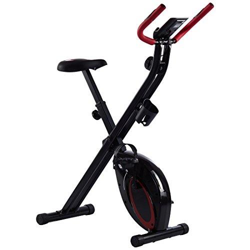 Ultrasport F-Bike Advanced, cyclette da allenamento, home trainer, fitness bike pieghevole con sella in gel, con portabevande e borraccia, display LCD, sensori delle pulsazioni, compatta e pieghevole, capacità di carico fino a 110kg
