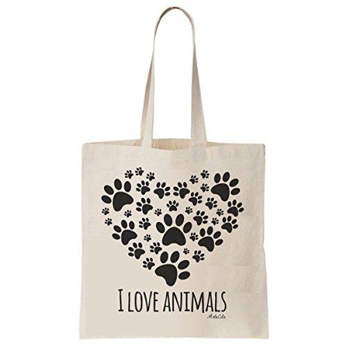 Tote Bag Imprimé Ecru - Toile en coton bio - I love animals