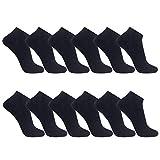 FALARY Sneaker Socken Herren Damen 12Paar Kurze Halbsocken Baumwolle-Schwarz-35-38
