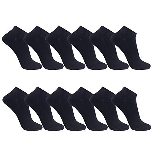 FALARY Sneaker Socken Herren Damen 12Paar Kurze Halbsocken Baumwolle-Schwarz-47-50