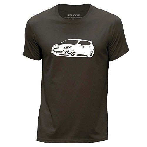 STUFF4 Uomo Girocollo T-Shirt/Plantilla Coche Arte / 3 MPS Marrone scuro