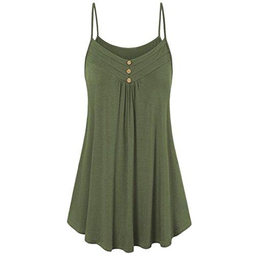OYSOHE Women Tank Tops, Summer Loose Button V Neck Cami Vest Tops Blouse