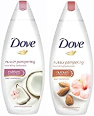 Dove Coconut Milk and Jas Petals Body Wash, 190ml & Dove Almond Cream and Hibiscus Body Wash, 190ml
