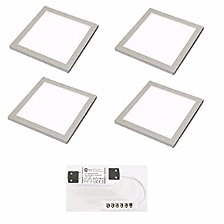 4 X SQUARE KITCHEN LIGHT SLIM FLAT PANEL UNDER CABINET CUPBOARD COOL WHITE LED