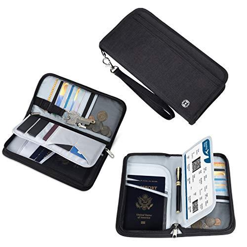 Reisepass Tasche Familie Reiseorganizer Reisedokumententasche | RFID-Blocker Pass Etui Passport Hülle Reisemappe Reisebrieftasche Ausweistasche Dokumente Organizer für Damen/Herren Schwarz (5 Pässe)