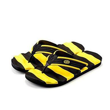 Slippers & amp da uomo;Comfort Gomma Molla casuale Nero / Giallo Nero / Blu Nero / Bianco piatto, Bl sandali Black/Yellow