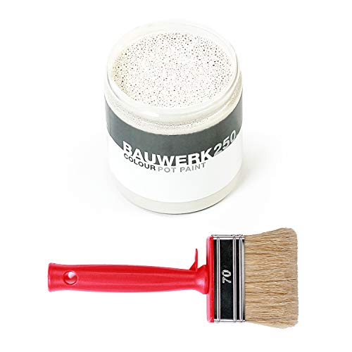 Bauwerk Colour Blumentopf-Farbe Chalk mit Pinsel, Farbton weiß, wasserbasiert, vegan, im Shabby-Chick-Look, 250 ml