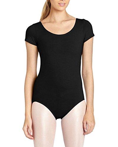 Ballettanzug Kurzarm Tanz Body Gymnastikanzug Turnanzug Leotard Schwarz M (Tanz Trikot Kostüme)