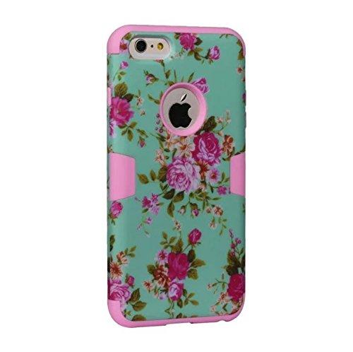 """iPhone 6 Plus Hülle,iPhone 6S Plus Hülle,Lantier Blumen Muster 3 in 1 hybride hohe Auswirkung schroff schockfeste schützende Fall Abdeckung für iPhone 6 Plus /6S Plus 5.5"""" Minze Grün+Rosa Mint Green+Pink"""