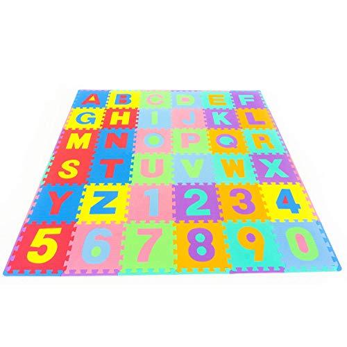 Leo & Emma - Alfombra puzzle de 36 esteras piezas letras y...