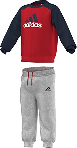 adidas Baby Jogginganzug Infants Logo, Rot/Blau/Grau, 68, AB6913