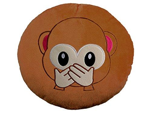 (EKNA Emoticon Emoji-Con Emotikon Kissen Sofakissen plüsch weich mit Auswahl Smiley Affen Kackhaufen (Affen - Nichts sagen))