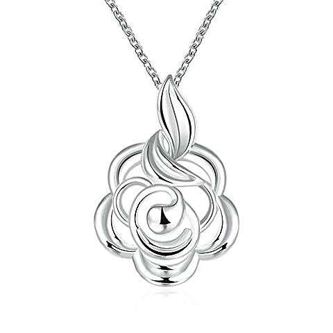 anazoz Fashion Jewelry Collier Plaqué Argent creux Femme Fleur Rose en argent Charm Collier pour Fille et Femme