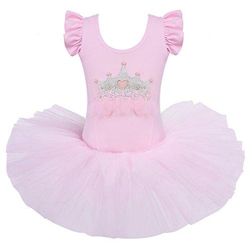 HUANQIUE Fille tutu de princesse Justaucorps de danse classique Gym Enfant 3-8 Ans
