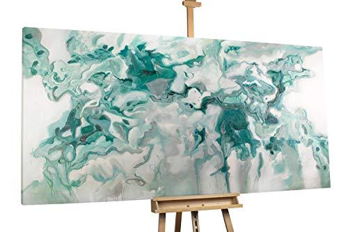 'Marmorierung' 200x100cm | Abstrakt Blau Weiß Deko | Modernes Kunst Ölbild