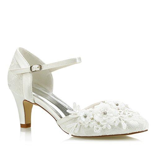 Mrs White 453-4A Damen Brautschuhe,Damen Pumps Mid Cone Heel Spitze Satin Floral Diamond Hochzeitsschuhe Court Schuhe, Elfenbein, 41 EU Cone Heel