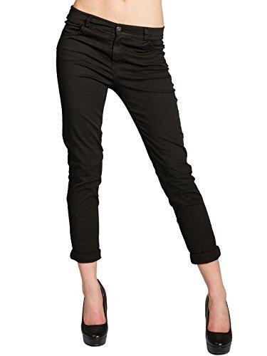 CASPAR KHS044 Damen Boyfriend Chino Hose, Farbe:schwarz;Größe:M - DE38 UK10 IT42 ES40 US8
