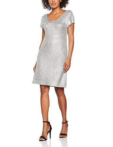 Benetton Metalic Knit Dress, Robe Femme Argenté (Silver)