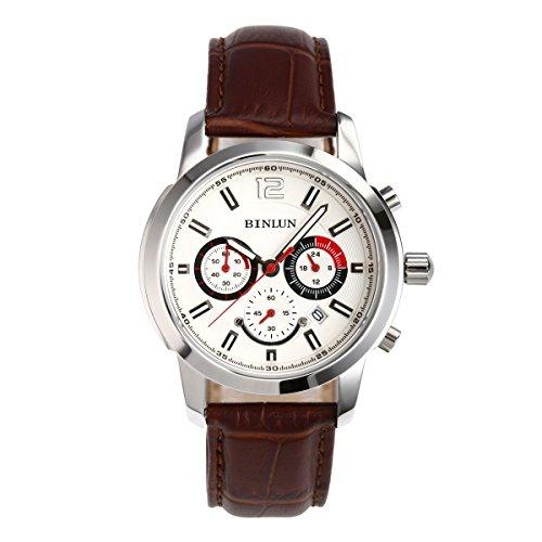binlun militare multifunzione Cronografo al quarzo giapponese GMT Cronometro quadrante bianco cinturino in pelle marrone - Pelle Tourbillon Cronografo