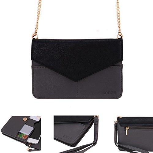 Conze da donna portafoglio tutto borsa con spallacci per Smart Phone per Celkon Campus Prime/2GB Xpress Grigio grigio grigio