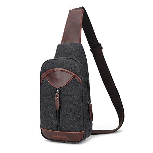 Imagen de eshow bolso  de pecho del hombro de lona tela de bandolera bolso cruzado para hombres color negro alternativa