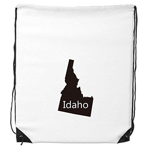 DIYthinker Idaho Rucksack mit Kordelzug, Motiv der USA USA von Amerika und der USA-Karte, feine Linien, Einkaufstasche, Geschenk, Schultertasche, umweltfreundliches Polyester