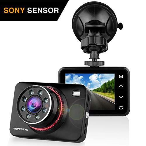 SUPEREYE Dash Cam Car Camera Night Vision Dashcam 1080P Full HD Dashcams for Cars with 170° Wide Angle G-Sensor Parking Monitor WDR Motion Detection Loop Recording