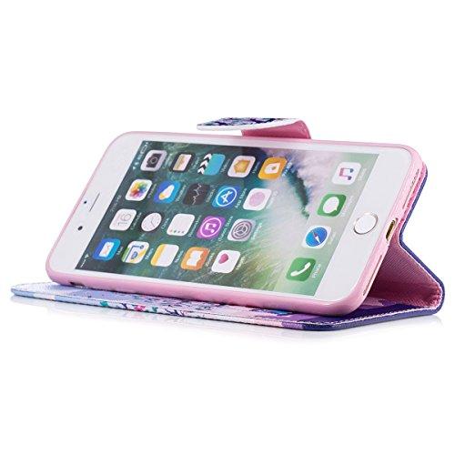 "MOONCASE iPhone 7 Plus Coque, [Colorful Painting] Durable TPU avec Béquille Etui Case Protection PU Cuir Card Holster Housse pour iPhone 7 Plus 5.5"" Bling Tree"