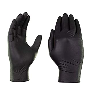 AMMEX Industrial Black Nitrile 5 Mil Disposable Gloves - Latex Free, Textured, Powder Free, Non-Sterile, Ambidextrous, Medium, Box of 100