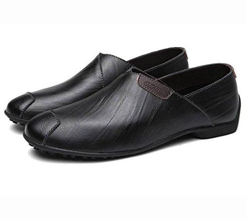 WZGDie neuen britischen Stil Männer Casual Schuhe Lederschuhe Peas seinen Fuß Mode-Trend der Faulenzer Persönlichkeit der Männer Black PH7KT