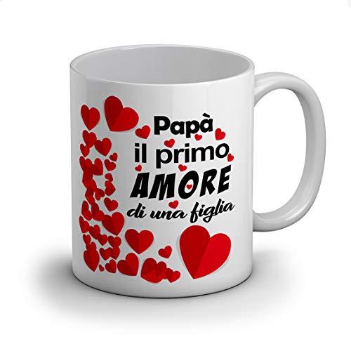 Idea regalo tazza tazze festa del papà, (papà il primo amore di una figlia) per compleanno o qualche altra occasione con frase dedica e disegno
