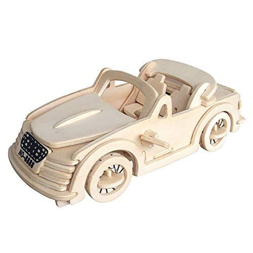 ouken 3D Holzpuzzle Gebäude Holz-Handwerk Kits Rätsel Puzzles Lernspielzeug DIY Spielzeug für Kinder und Erwachsene - Audi Car Holz Puzzles