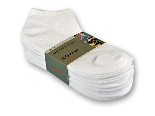 10 bis 100 Paar Sneaker Socken Baumwolle Damen & Herren Schwarz & Weiß - sockenkauf24 (39-42 (Herren), 10 Paar | Weiß)