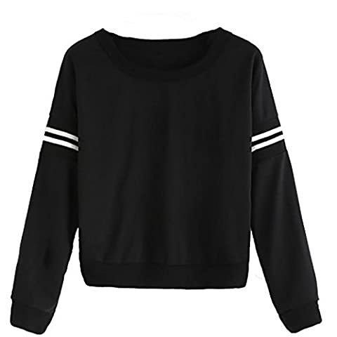 Pull Femmes Angelof Femmes Fille Plus Taille O-Neck Manches Longues Lettre Sweatshirt Pull à Manches Longues Pull Suede Tops (M)