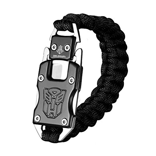 Womdee Survival Armband, EDC Survival Armband Paracord Survival Armband mit Paket Messer für Camping Survival/Wandern/Outdoor Adventure, Black -