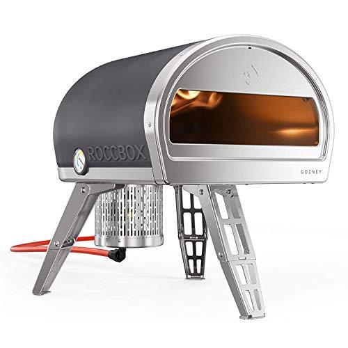 ROCCBOX Four à Pizza extérieur portatif Four à Pizza extérieur à gaz ou à Bois, à Double Combustible, à feu et à Pierre - inclut actuellement Une Pelle à Pizza perforée pour Tourner la Pizza