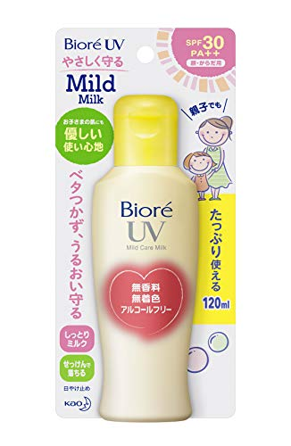 Biore SARASARA UV Mild Care Milk Sunscreen 120ml SPF28 PA++ for Face and Body (japan import)