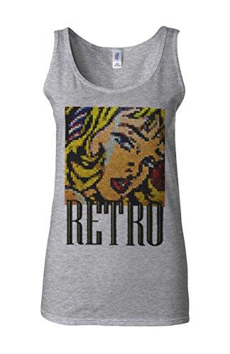 Retro Girl 8 Bit 90's Old School Novelty White Femme Women Tricot de Corps Tank Top Vest Gris Sportif