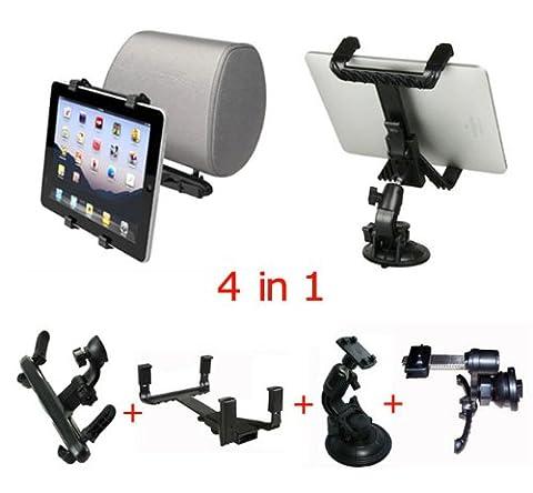 4en1 voiture pare-brise d'aspiration+Siège appuie-tête Dossier+Climatiseur évent support de berceau porteur pour iPad Air/iPad mini/iPad 4 3 2 1
