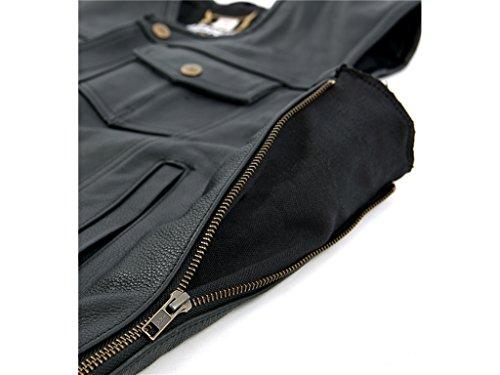 Bores Sunride 6 Lederweste Jeans-Optik mit Seitlicher Weitenverstellung, Schwarz, Größe 2XL